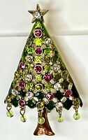 Christmas Tree Brooch Pin Rhinestone Enamel Dangling Beads Lattice Green (Mylu?)