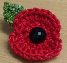 """Crocheted Remembrance Poppy Brooch - Handmade Free P&P """"Cottage Crafts"""""""
