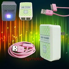 100X 4 USB PORTS HUB WALL ADAPTER+10FT CABLE POWER CHARGER SYNC PINK GALAXY TAB