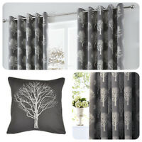 Fusion WOODLAND TREES Charcoal Grey 100% Cotton Eyelet Ring Curtains & Cushions