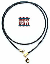Black Leather Cord Necklace Silver/Gold Clasp 16