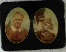 Vintage Early 1900's  Celluloid Photo Couple and their dog