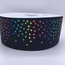 "Black Rainbow Mini Foil Stars  3""  75mm Grosgrain Ribbon per meter"