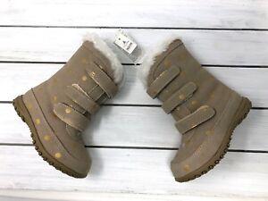 NWT Baby Gap Girl's Beige Faux Fur Gold Polka Dot Snow Boots - Sz 6, 7, 8 - $75