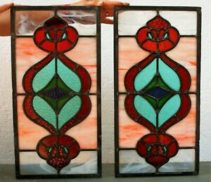 Vintage Leaded Stained Glass Window Panel Colourful Striking Style