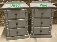 X2 (PAIR) HANDMADE BUCKINGHAM 3 DRAWER BEDSIDE CABINETS GREY/RUSTIC KNOBS