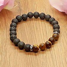 Natural Lava Stone & Tigers Eye Gemstone Chakra Stretch Bracelet & Velvet Pouch