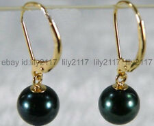 Genuine Natural 10mm round black South Sea shell pearl gold dangle earrings