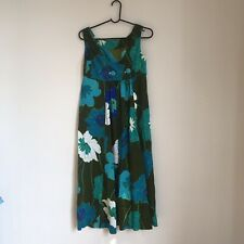 Vintage 1960s Tagless Womens Floral Mod Green Dress