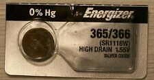 Energizer Watch Battery 365/366 replaces SR1116SW, SR1116W, V366, AWI S16 & S35.