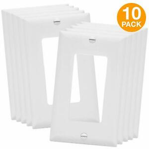 Decorator Switch Receptacle Wall Plate Mid Size 1 Gang Gloss White 10 Pack