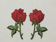 #5705R Lot 2Pcs Red Rose Embroidery Iron On Appliqué Patch/Pair
