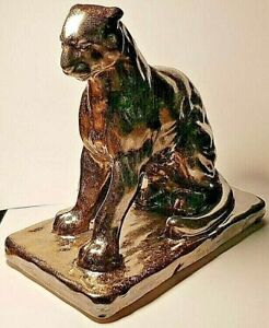 L.S Tiger Sitting Statue Sculpture Figurine Earthenware 19x 15 x 11cm Burnt gold