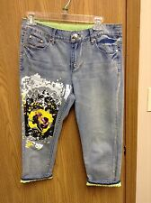 Simon Chang Light Blue Size 4 Denim Capris w/Painted Design and Big Beading EUC