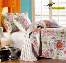 3 Pieces Cotton Flower Patchwork Quilt Cover Pillow Case Queen King Bed Set