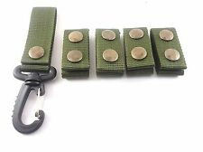 GG4 @ 5 PCS. ARMY POLICE GREEN  NYLON  DUTY BELT KEEPERS SNAPS FIT BELTS 2 INCH