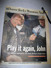 """Denver Broncos - Rocky Mt. News Cover Story - """"Play It Again John"""", 36 pages"""
