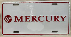 Mercury License Plate - Vintage 1990s - White/Red New Booster