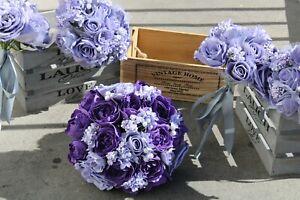 BRIDAL BOUQUET FLOWER PACKAGE PURPLE IVORY LILAC LAVENDER BUTTONHOLES