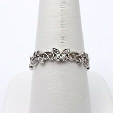 18k White Gold Pave Natural Light Pink Diamond Butterfly Wedding Band Thumb Ring