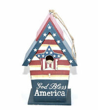 Dong'e County God Bless America Birdhouse in Blue/Red/White