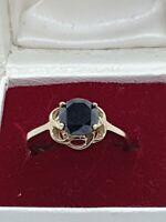 9ct 1ct Black Diamond Solitaire Size L.