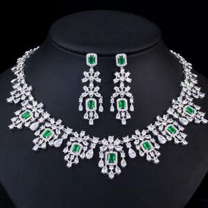 CWWZircons Luxury Blue Cubic Zirconia Women Wedding Party Necklace Earrings Sets