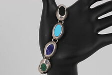 STERLING SILVER TAXCO F-5 MULTI COLORED STONE LINKED BRACELET 925 MEXICO 2739
