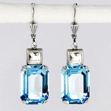 Ohrringe Ohrhänger Silber Altsilber Swarovski Kristall Rechteck Aquamarin blau
