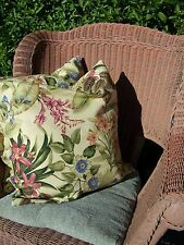 tropical print accent throw pillow cover envelope style  2 16 x 16 beige green