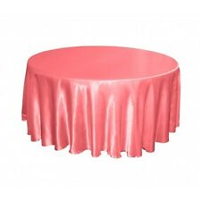 LOT OF 10 CORAL REEF SATIN 132 IN ROUND TABLECLOTHS WEDDING