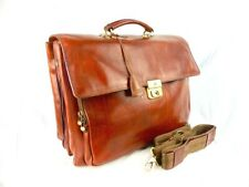 THE BRIDGE Classic brown Leather Briefcase 42cm wt shoulder strap