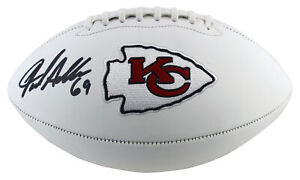 Chiefs Jared Allen Authentic Signed White Panel Logo Football BAS Witnessed