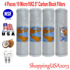 "4 Pcs Active Carbon Block Filter Ro System Coconut Shell Omnipure 10"" 10 Micro"