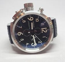Parnis Chronograph Black Dial Black Leather Band Stainless 50mm Mens Watch P0763
