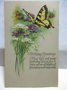 1920S POSTCARD BUTTERFLY, BIRTHDAY GREETINGS