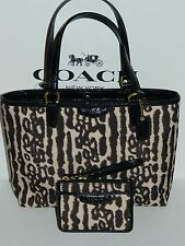 Coach Ocelot Tote Bag Black White Small F51819 B2e