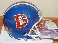 Broncos KARL MECKLENBURG Signed D-Style Mini Helmet w/ ROF Insc. JSA & RMM