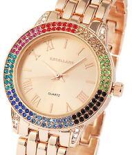 Damen Armbanduhr Rosé/Bunt Crystal-Besatz Metallarmband von Excellanc 180/037