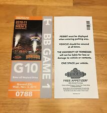 2010-11 TENNESSEE VOLUNTEERS BASKETBALL PARKING PASS TICKET STUB GAME 1