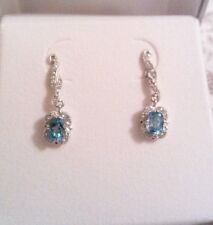 Beautiful Blue Topaz & Lab Created White Sapphire Sterling Silver Earrings NWTs