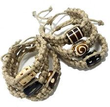 WHOLESALE - 6 Hemp Twine Bone Bead Braided Surfer Bracelet