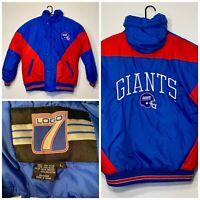 Vintage NY Giants Logo 7 Jacket Puffer Coat NFL Size L 90s