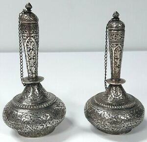 Magnificent Pair of Colonial Indian Kashmir Silver Rose Water Scent Flasks c1880