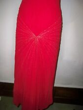 PEARCE FIONDA  RED  PURE  SILK   LONG DRESS WITH FISH TAIL - - SIZE UK 8