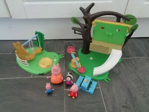 peppa pig bundle-treehouse+ swings playsets+ 4 x figures+picnic bench