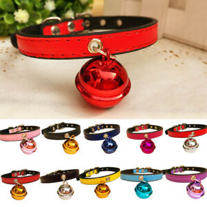 Fashion Party Dog Puppy  Kitten Faux Leather Bell Necklace Collar Gift