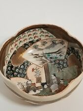 Antique Imari Bowl Scallop Edged Gold Trim