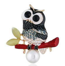 Vintage Owl Bird Pearl Brooches Sweater Brooch Pins Fashion Jewelry