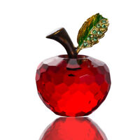 LONGWIN Red Faceted Crystal Glass Apple Figurine Handmade Paperweight Gift 40mm